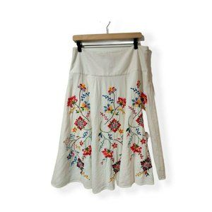 Carole Little White Linen Blend Embroidered A-Line